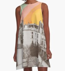 Rainbow Sky Above Paris A-Line Dress