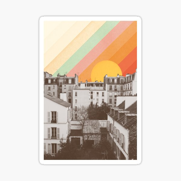 Rainbow Sky Above Paris Sticker