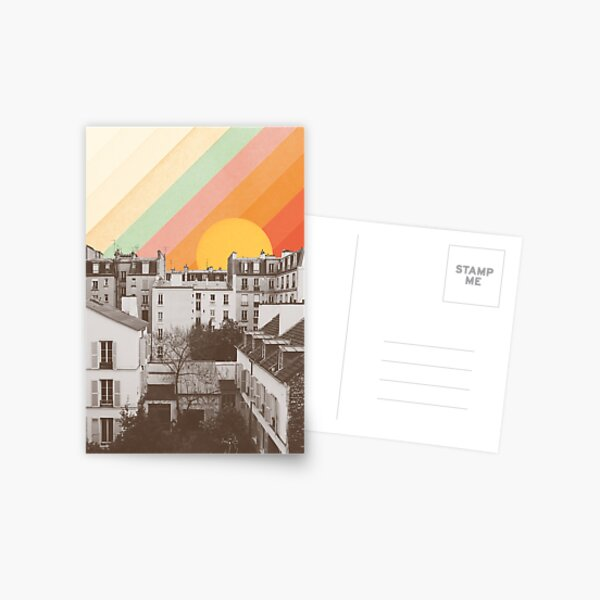 Rainbow Sky Above Paris Postcard