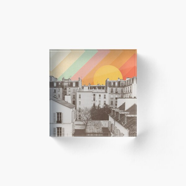Rainbow Sky Above Paris Acrylic Block