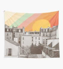 Rainbow Sky Above Paris Wall Tapestry