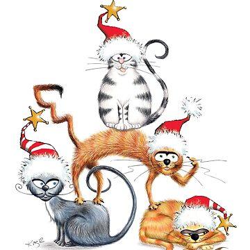 Kazart Xmas Cat Stack  by kazartgallery