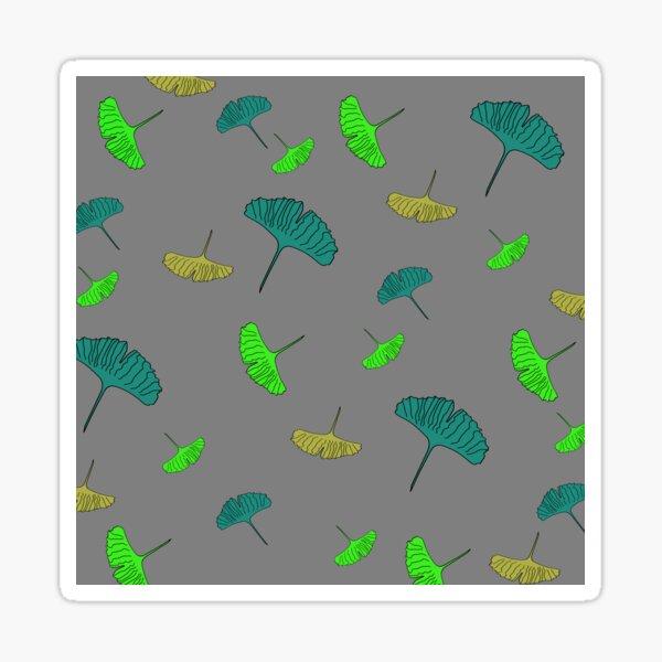 Green, ochre, turquoise, Ginkgo pattern, ginkgo biloba, australian leaf, leaves, nature, gingko, new zealand leaf, grey background Sticker