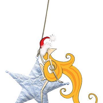 Kazart Phoebe Super Star Christmas Tshirt by kazartgallery