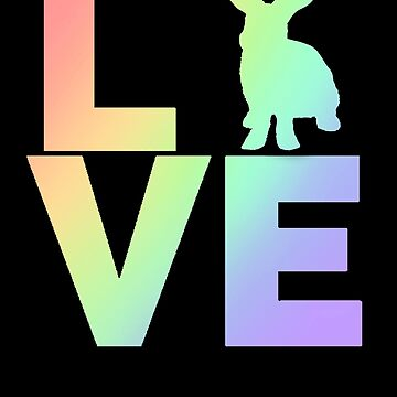I Love Rabbits Pastel Rainbow Colors by LarkDesigns