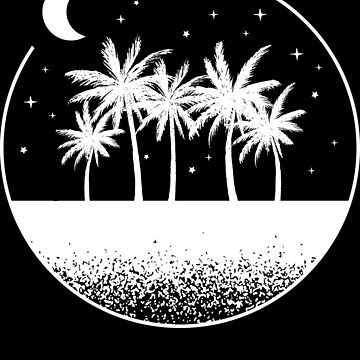 Tropical Night Palm Trees White by LarkDesigns