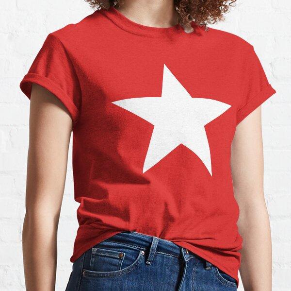 WHITE STAR on RED. Bright Star, STELLAR, ACHIEVEMENT, cool. Classic T-Shirt