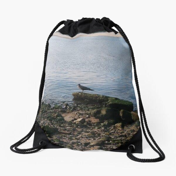 #water, #sea, #outdoors, #beach, #bird, #nature, #landscape, #island Drawstring Bag