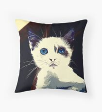 gxp cute cat blue eyes vector art foggy night Throw Pillow