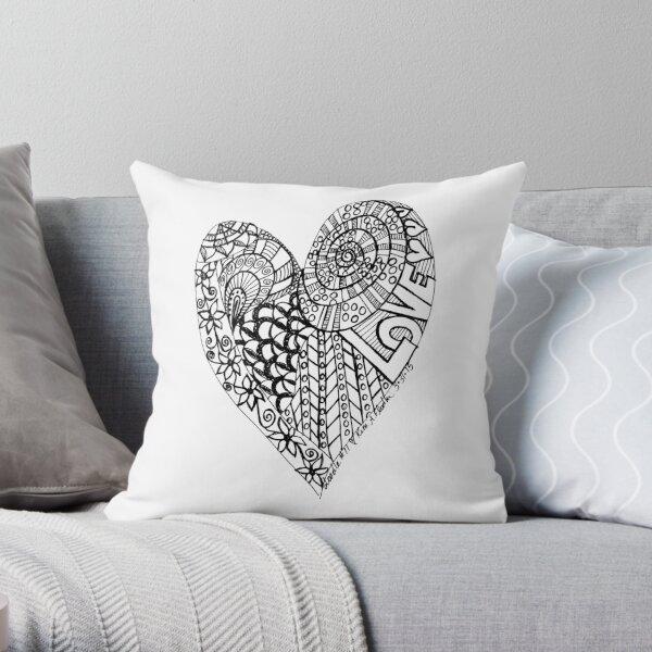 Love Heart in Black & White Throw Pillow