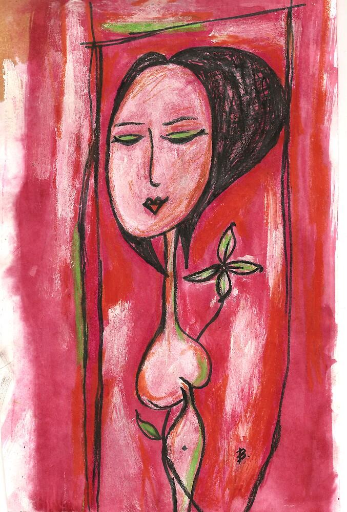 Flower Lady in the Garden by aloeART