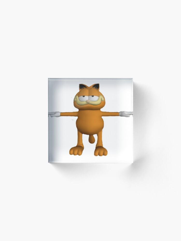 Garfield T Pose Acrylic Block By Lukamalatest Redbubble