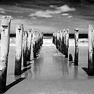 St Clair Beach in monochrome by Elana Bailey