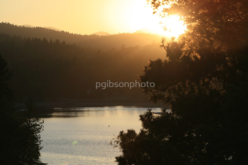 Lake Gregory sunset on the lake. by pgibsonphoto