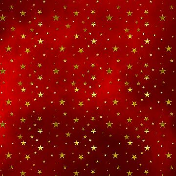 Golden Stars on Royal Red Background by WesternExposure