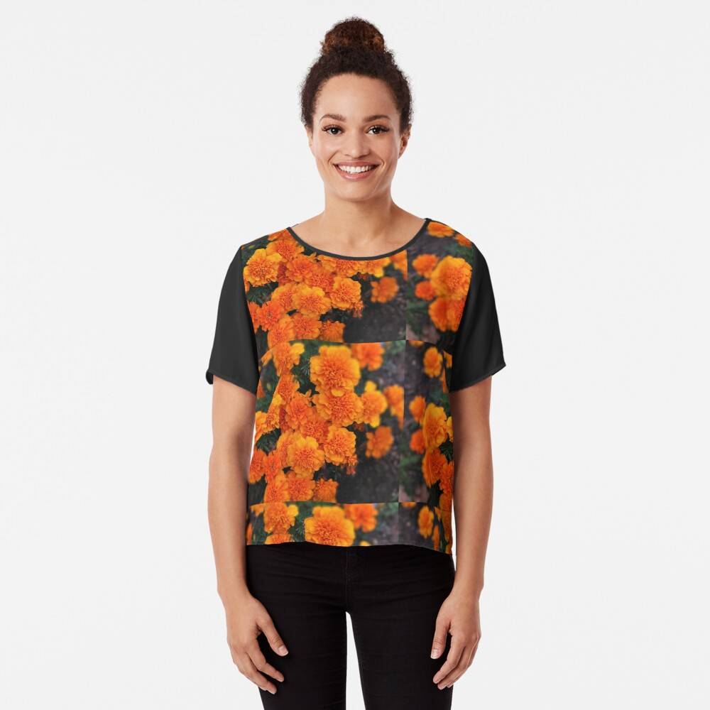 Mexican marigold flower Chiffon Top