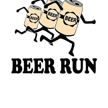 Beer Run - running beer cans by goodtogotees