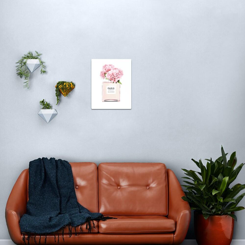 Perfume bottle, Flowers print, Scandinavian, Peony, Fashion print, Scandinavian art, Modern art, Wall art, Print, Minimalistic, Modern Metal Print