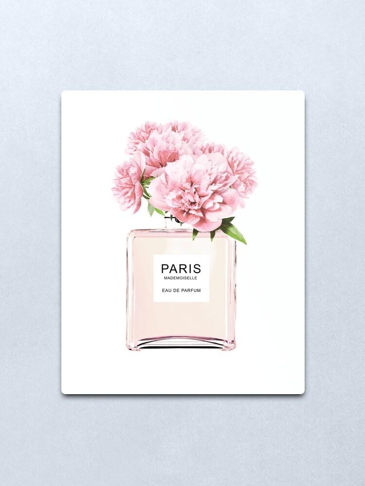 Alternate view of Perfume bottle, Flowers print, Scandinavian, Peony, Fashion print, Scandinavian art, Modern art, Wall art, Print, Minimalistic, Modern Metal Print