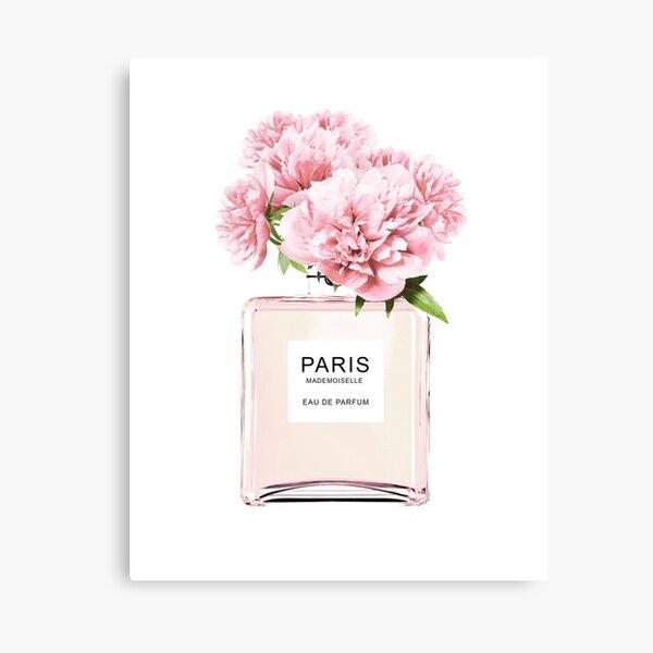 Perfume bottle, Flowers print, Scandinavian, Peony, Fashion print, Scandinavian art, Modern art, Wall art, Print, Minimalistic, Modern Canvas Print