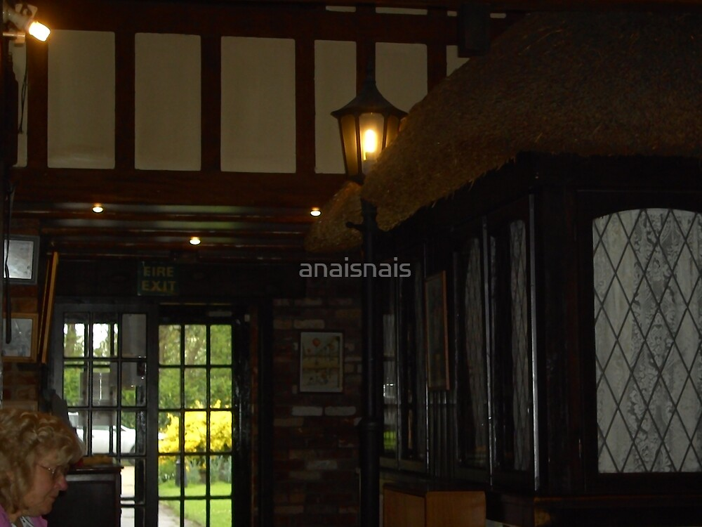 Thatched roof inside Watchfield Inn by anaisnais