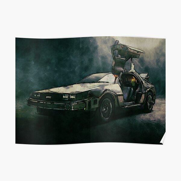 Volver a la acuarela Future DeLorean Póster