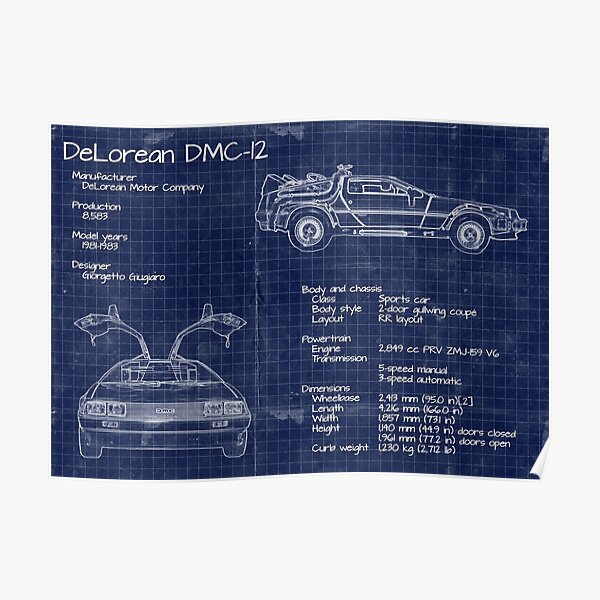 Back to the Future DeLorean blueprints Poster