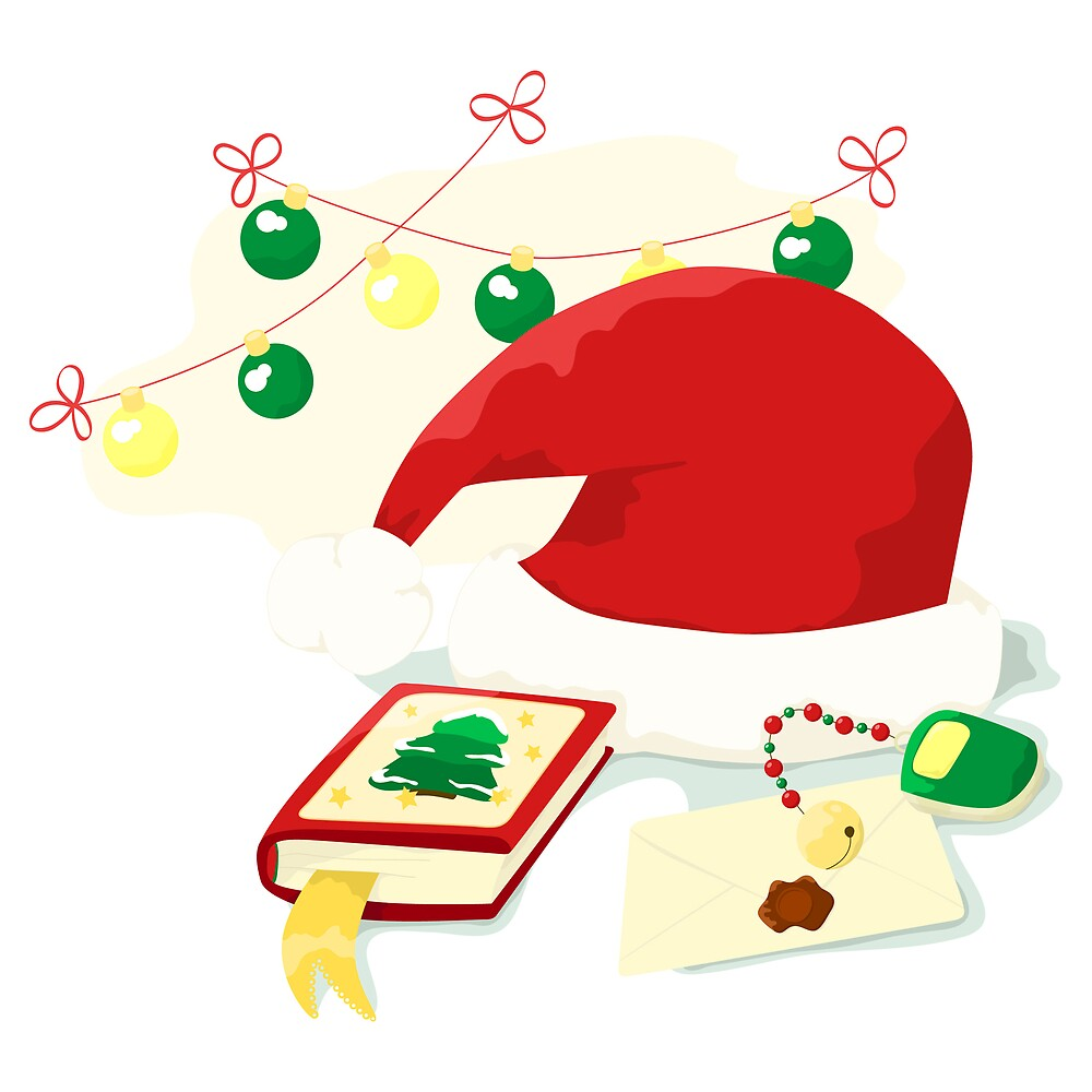 Hat, mobile, book of Santa Claus. New year illustration by Lalayf