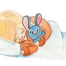 Sleeping girl and toy-hare by Lalayf