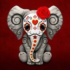 Red Day of the Dead Sugar Skull Baby Elephant by jeff bartels