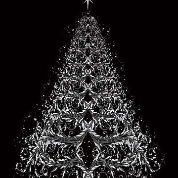 White Filigree Christmas Tree by Atteestude