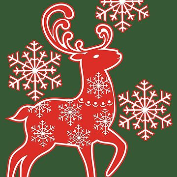 Christmas Snowflake Reindeer by JoniandCo