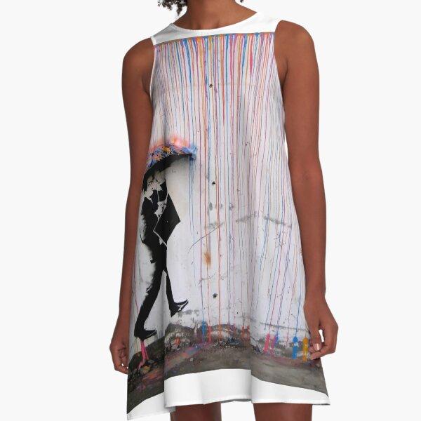 Banksy Umbrella Rainbow Happy Girl A-Line Dress