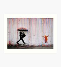 Banksy Umbrella Rainbow Happy Girl Art Print