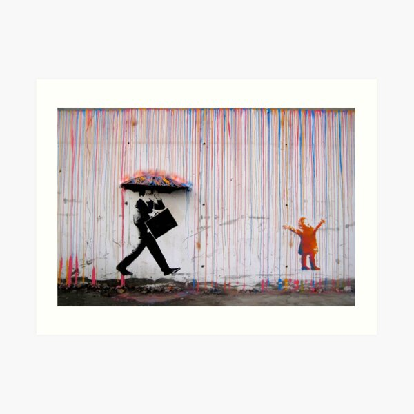 Banksy Umbrella Rainbow Happy Girl Lámina artística