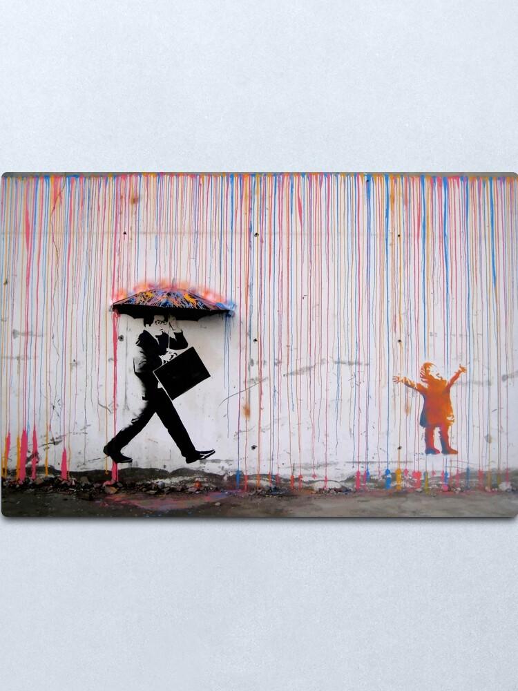 Alternate view of Banksy Umbrella Rainbow Happy Girl Metal Print