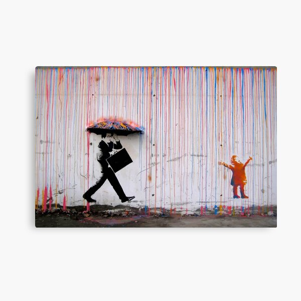 Banksy Umbrella Rainbow Happy Girl Canvas Print