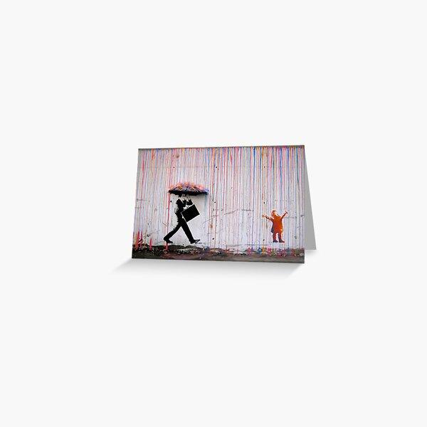 Banksy Umbrella Rainbow Happy Girl Greeting Card