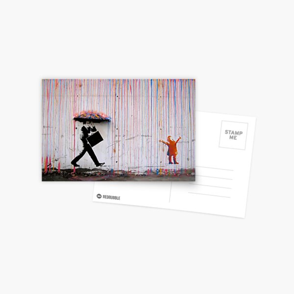 Banksy Parapluie Rainbow Happy Girl Carte postale