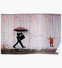 Banksy Regenschirm Rainbow Happy Girl Poster