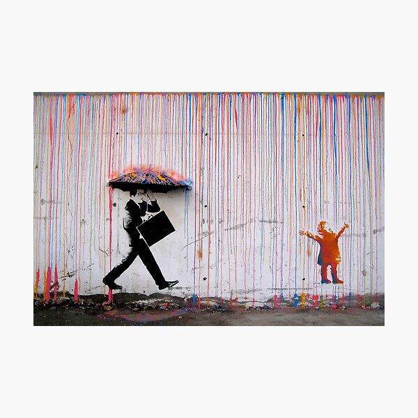 Banksy Umbrella Rainbow Happy Girl Photographic Print