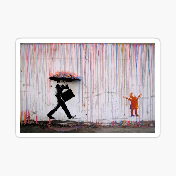 Banksy Umbrella Rainbow Happy Girl Sticker