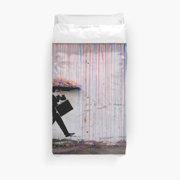 Banksy Umbrella Rainbow Happy Girl Duvet Cover
