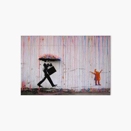 Banksy Umbrella Rainbow Happy Girl Art Board Print