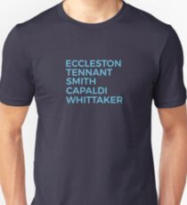 Doctor Who Schauspieler / David Tennant / Matt Smith / Jodie Whittaker / Christopher Eccleston / Peter Capaldi Slim Fit T-Shirt