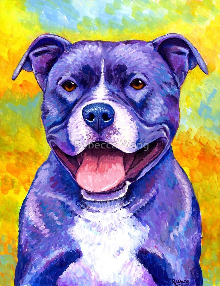 Colorful American Pitbull Terrier Dog by Rebecca Wang