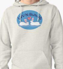 Hippity Hop - Blue Bunny Design Pullover Hoodie