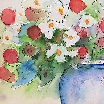 Watercolor flowers in the vase by Britta75