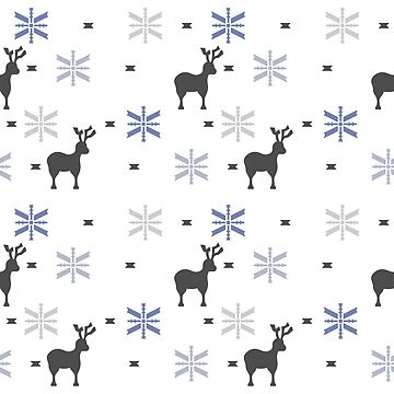 Winter themed pattern with blue and grey snowflakes by SooperYela