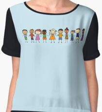 Children from All Over the World Holding Hands in a Line Chiffon Top